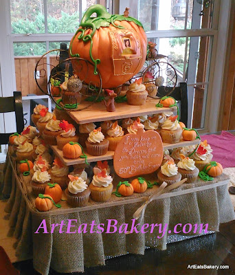 Cinderella pumpkin carriage princess 50th birthday cake with cupcake tower, burlap, fall leaves and edible mice