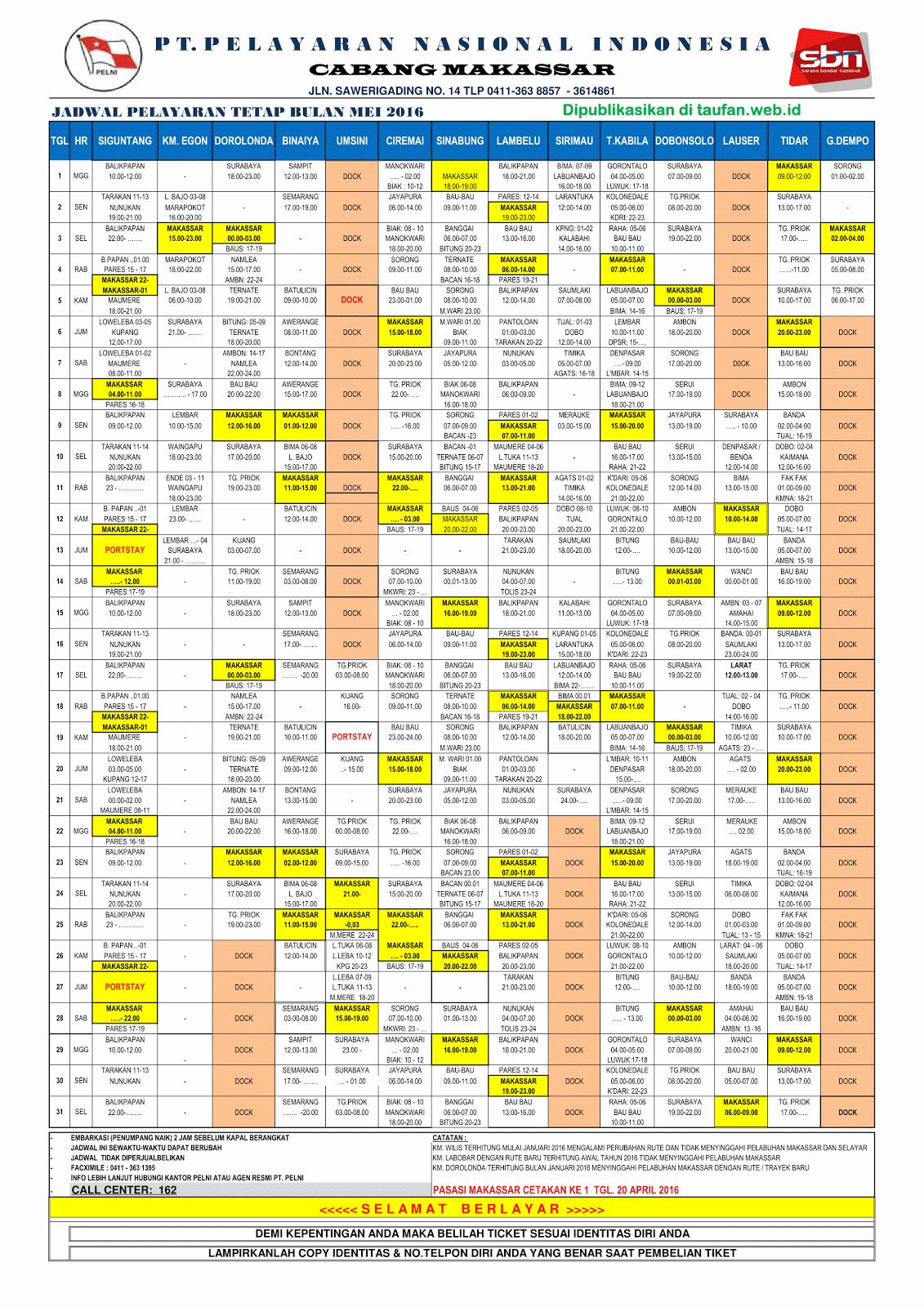 Jadwal Kapal PT. Pelni Mei 2016