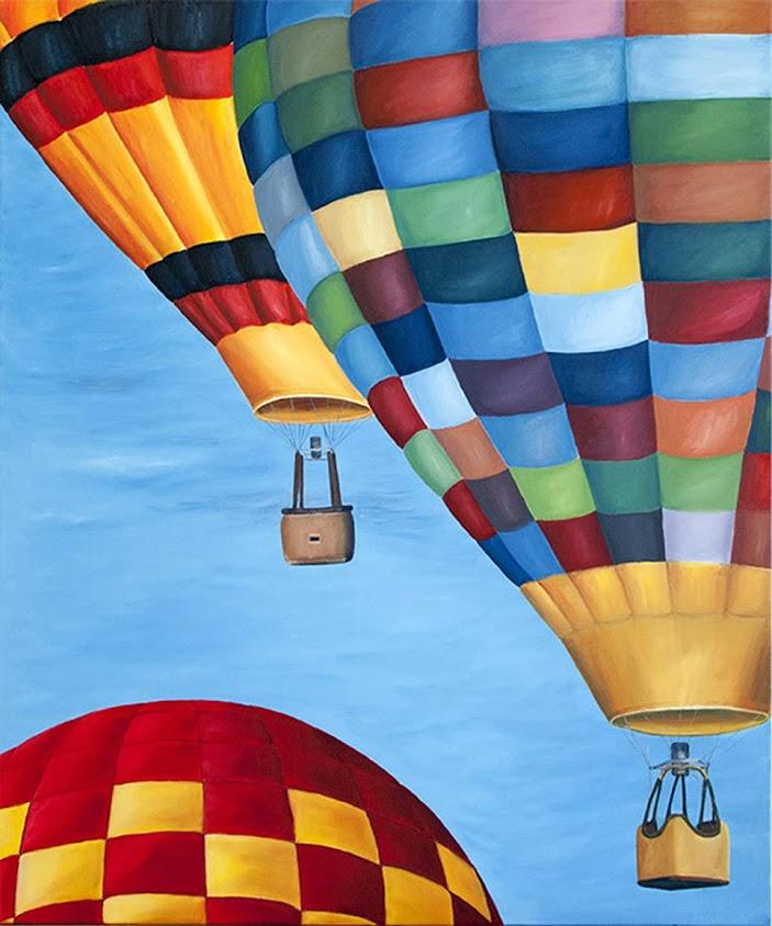 Tres globos,Pintura al óleo de Juan José Pedrosa