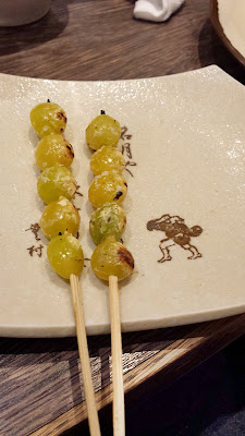 Yakitori means chicken meat on skewers but it can include vegetables too like ginnan (gingko nuts), leeks, mushrooms and more