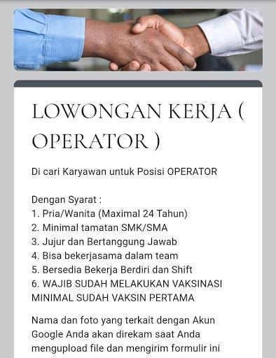 Lowongan Kerja Operator PT. Harapan Citra Jaya