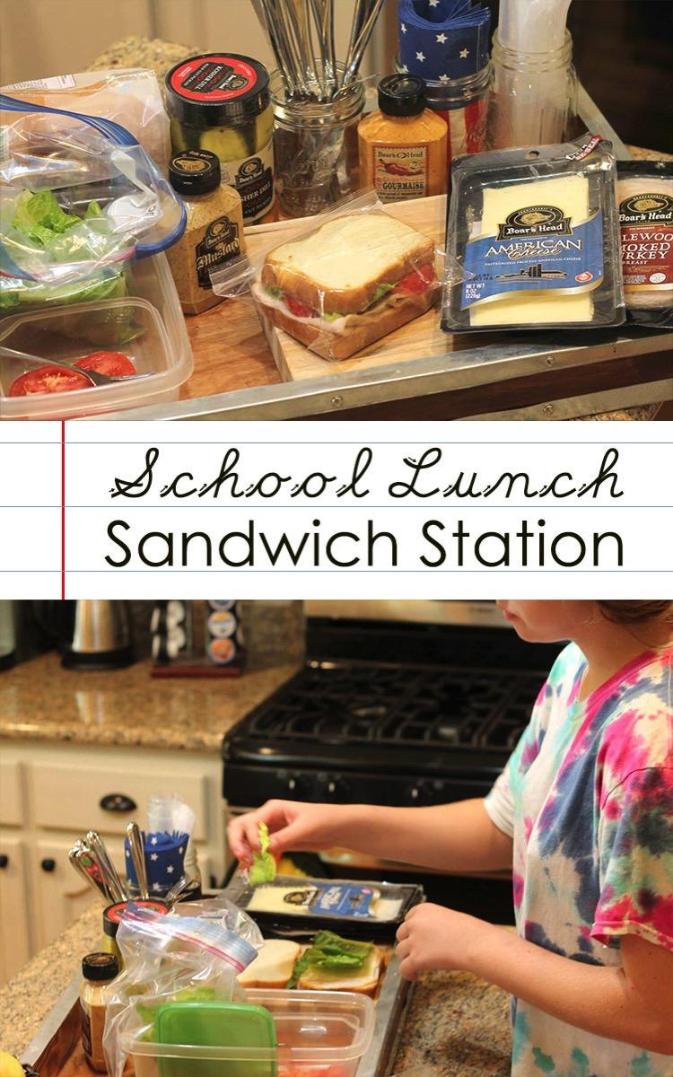 School lunch sandwich station for kids