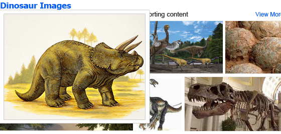 Slightly popped out dinosaur photo over other grid of photos