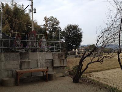 Shrine by rice field