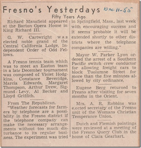 Fifty Years ago - Fresno Tennis 12_11_1955