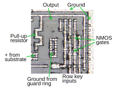The circuitry to detect multiple button presses is built from NMOS, not CMOS.