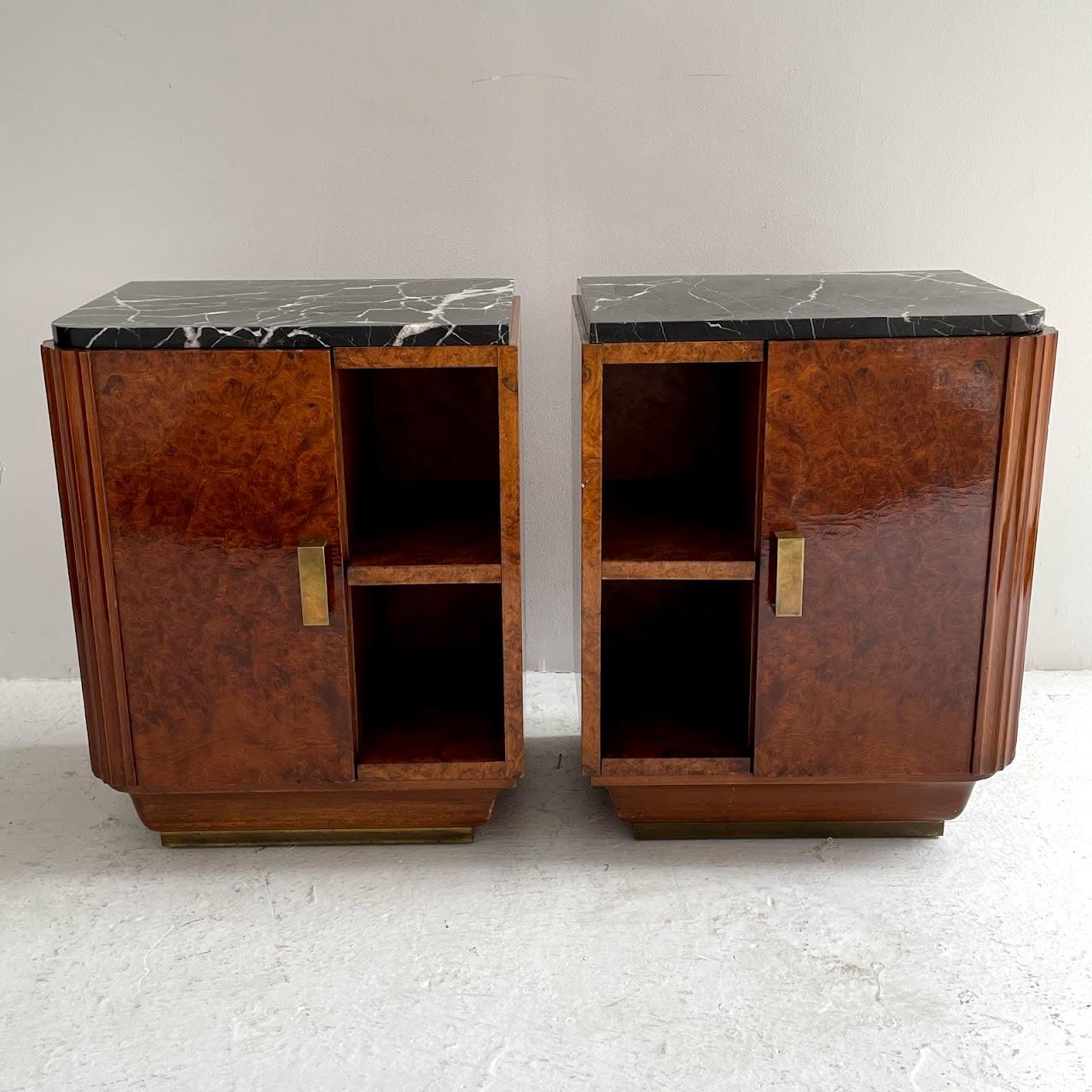 Art Deco Burlwood Marble Top End Table Pair
