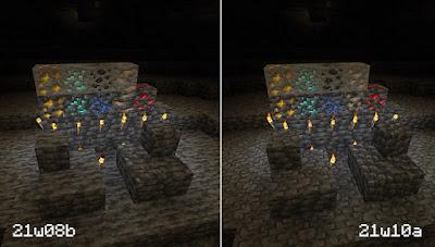 Comparação das texturas dos minérios entre a 21w08b e 21w10a