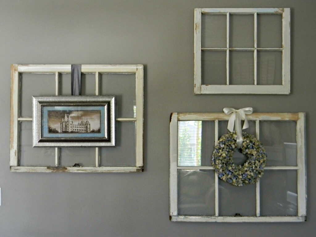 Home made modern summer mantel and what to do with old for Craft projects using old windows