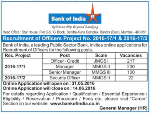 Bank of India Recruitment for Officer, Manager & Security Officer   Total Posts: 539