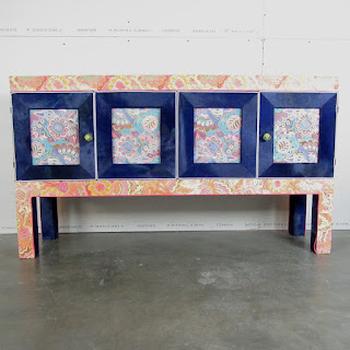 Luca Porcelli Power Flower Credenza with Hide Detailing