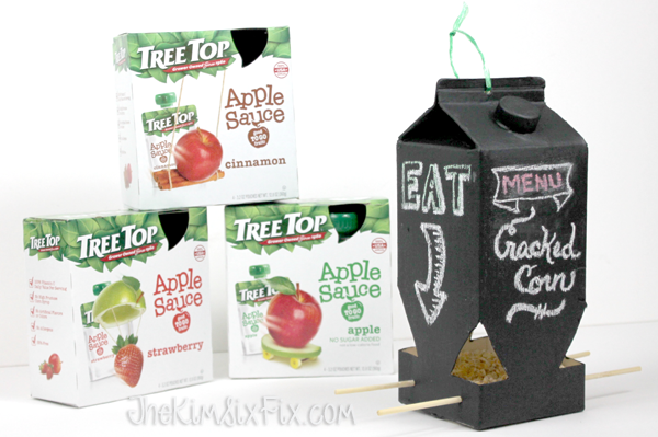 Tree top applesauce birdfeeder