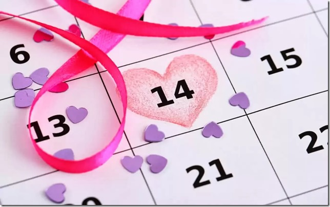 14th Feb calender valentines day