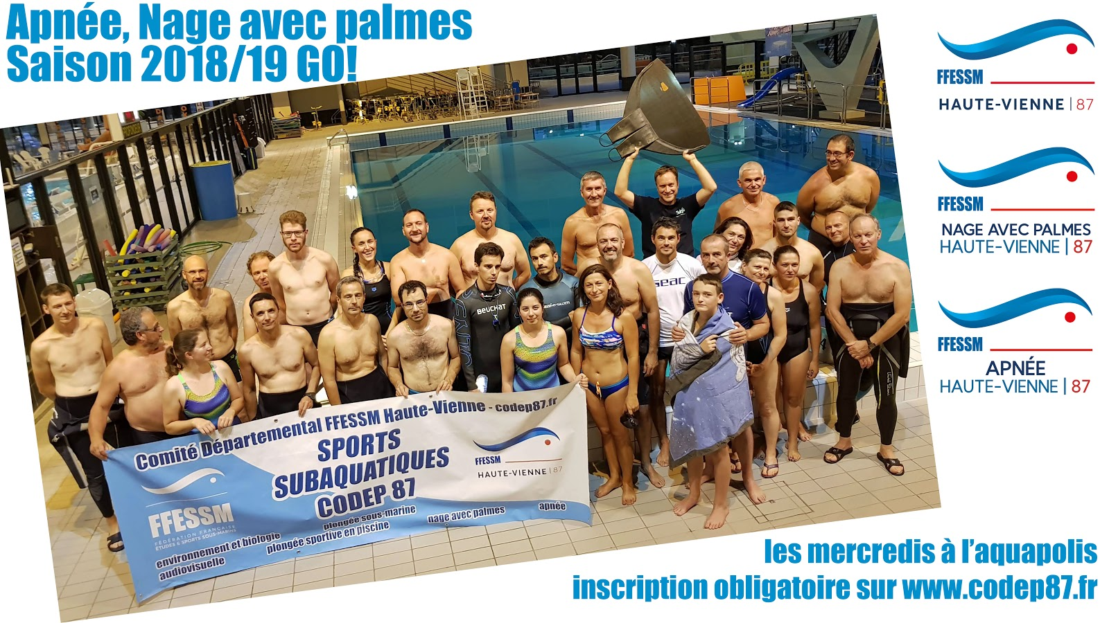 CODEP87 FFESSM Apnée nage avec palmes Aquapolis Limoges