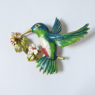 Joan Rivers Enamel Hummingbird Pin