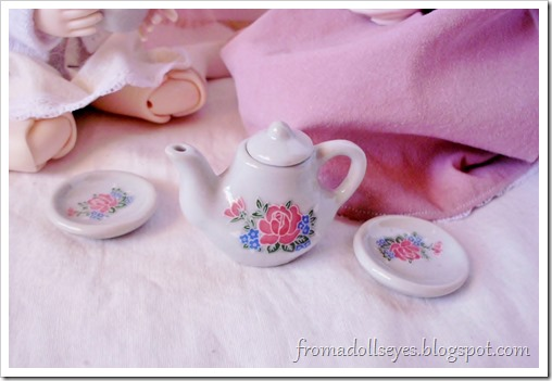 A doll size tea set.