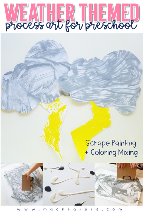 Weather Themed Process Art for Preschoolers and Elementary Aged Kids combines scrape painting plus color mixing for some stormy fun.