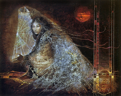Over a dark landscape, a textured orange globe hangs in the background, barely lighting a scene where most of the light comes from an enormous woman with light brown skin, high cheekbones, and long, dark eyes, who dwarfs the mountains and seas glimpsed in the background. She is gazes intently but impassively somewhere beyond the viewer and her straight black hair is being swept back in the wind, across the dark sky. She has a long, thick braid of it reaching down her near arm and it's impossible to tell her age - is the silver in her hair from time, the light from her cobwebbed cloak, or actual strands of cobweb? Between her outstretched hands half an enormous web glows in silver and a kind of greenish gold, with strange, blue accents. Down the side of the picture is an elaborate cartouche of stylised eyes, spirals, geometric shapes which echo the glimpses of the woman's clothing under her cloak, and a cartoon spider composed of golden lines in a web with a cross in a circle on its back. Under the spider is writing of the same golden colour saying Susan Seddon-Boulet 1986.