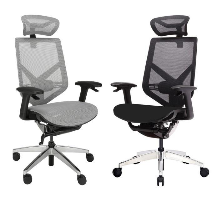 fotel ergonomiczny Zhuo Insight szary i czarny do pracy przy komputerze