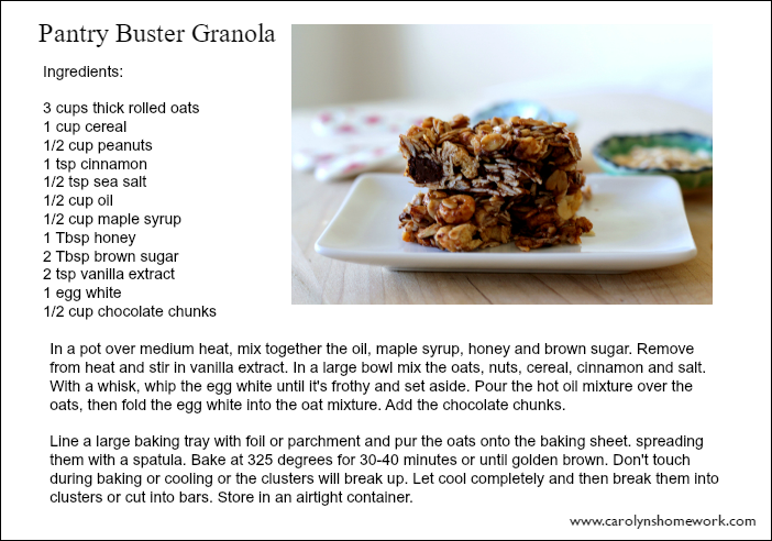 Granola Recipe Card