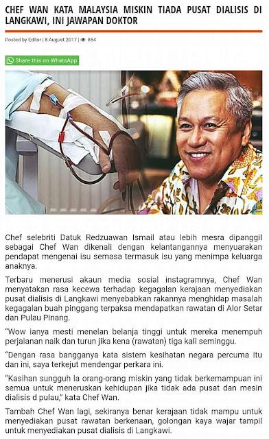 CHEF WAN kata Malaysia Miskin Tiada Pusat dialisis di Langkawi?