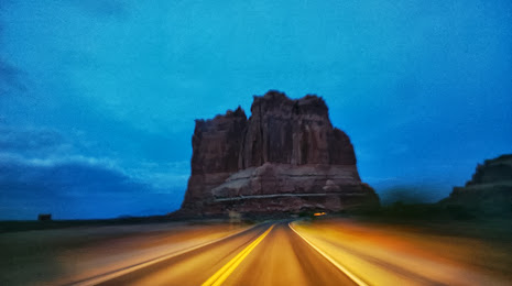 "Driving toward the ""Courthouse"" in Arches National Park, Utah"