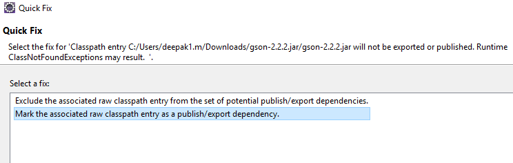 Mark the associated raw classpath entry as publish/export dependency