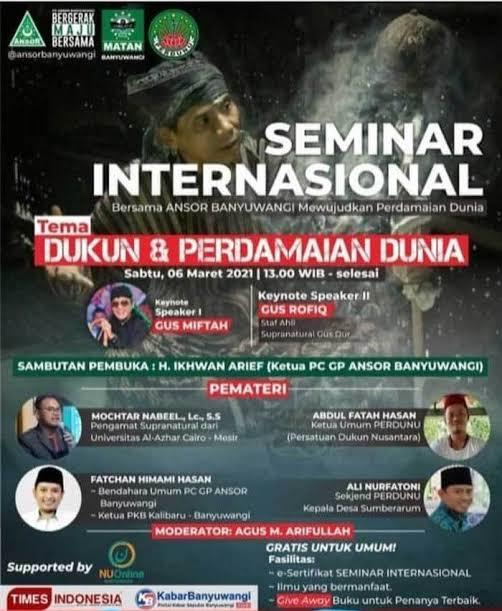 Ada Logo GP Ansor dan Supported by NU Online di Flyer Seminar Dukun Internasional