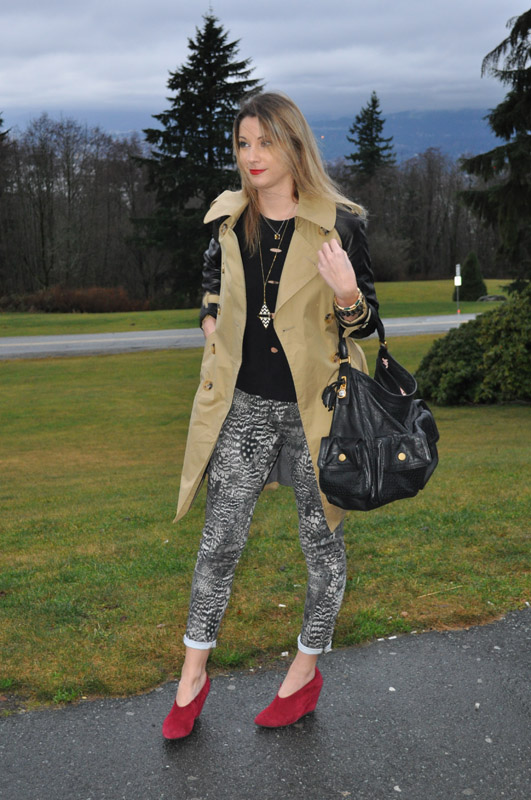 Mixing cool prints with leather