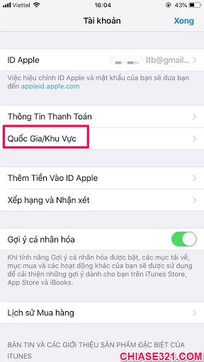 cách chuyển vùng quốc gia app store