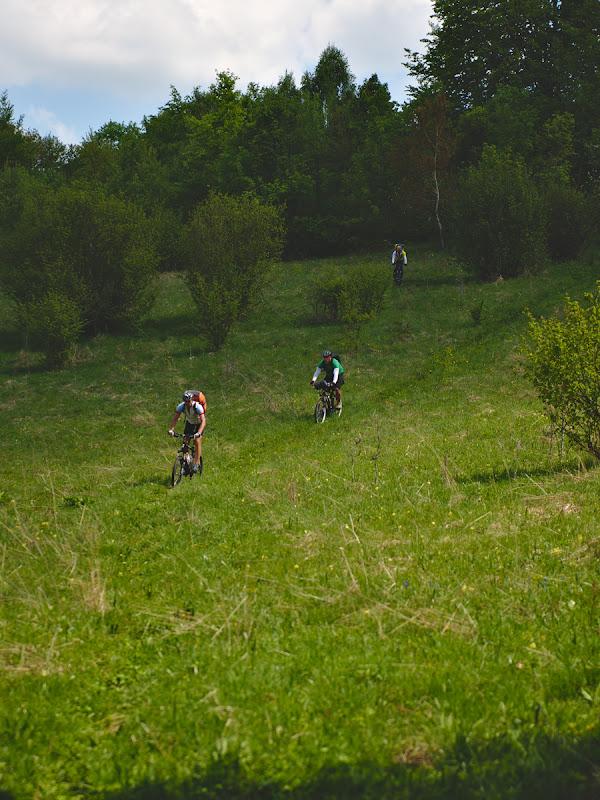 Coborarea spre Valea Poienii, cu poteci faine, single trail si din pacate si cu ceva maracini.