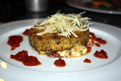 Crab cake at Smoak restaurant in Manchester England