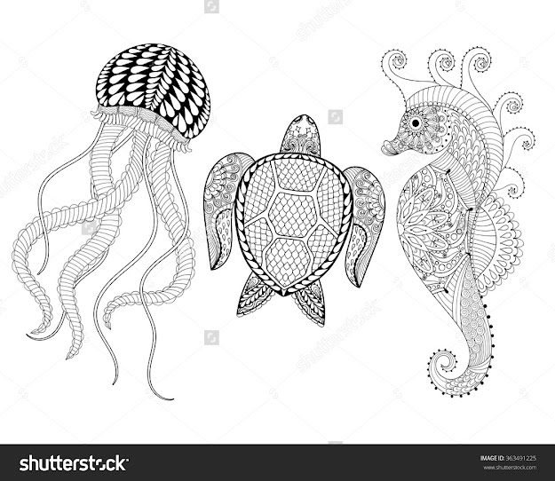 Hand Drawn Sea Horse Jellyfish And Turtle For Adult Coloring Pages In  Doodle Zentangle