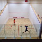 Hannah and Michael - playing in the A Group of the 2014 Kidsquash Tournament.
