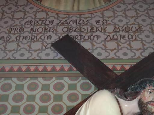 """""""Cristus Factus est pro nobis obediens usque ad mortem mortum autem crux"""" Tradução: """"Cristo se fez por nós obediente até a morte e morte de cruz"""""""