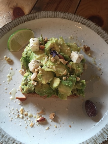 Avocado on toast is a typical Aussie cafe menu item, available at Good Day Coffee in Okinawa