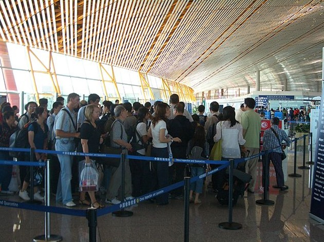 Immigration Line at Beijing International Airport