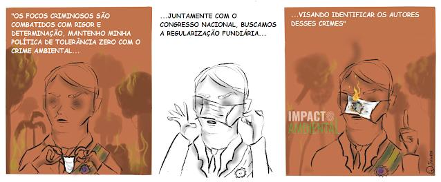 """Charge sobre o discurso de Jair Bolsonaro: No primeiro quadro, o presidente dialoga com o leitor, enquanto começa a colocar a máscara, defendendo sua """"politica de tolerância zero"""". No segundo quadro, observamos sua tentativa de colocar a máscara facial enquanto a mesma tampa seus olhos. E, por fim, no último quadro, a máscara em seu rosto fica em chamas."""