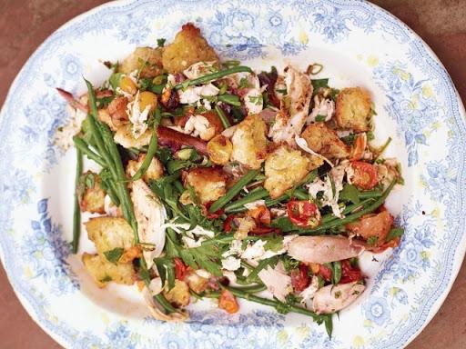 Asparagus, Green Bean, Mushroom, and Chicken Salad