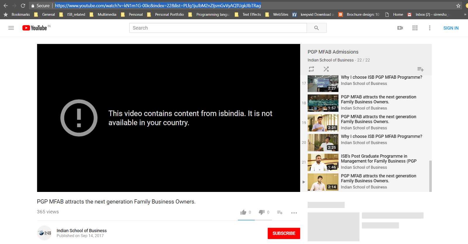 ISB india Youtube Channel is not working! - YouTube Help