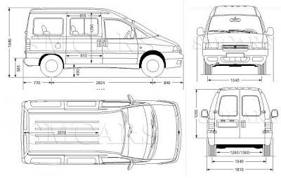 Esquemas medidas interiores y exteriores viajando a cuestas - Medidas interiores furgonetas ...