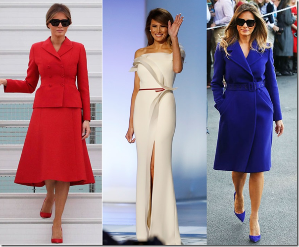melania red white and blue