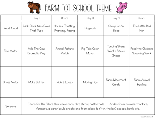 Farm Tot School Theme