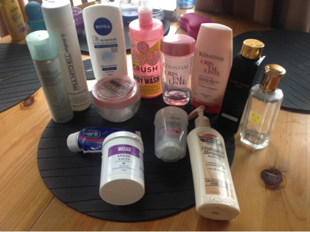 all my empty productd form cocoa butter, paul mitchell to nivia.