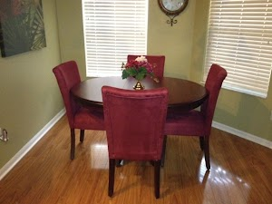 Urbana Custom Dining Table and Custom China Cabinet in Cinnamon Quarter Sawn Oak