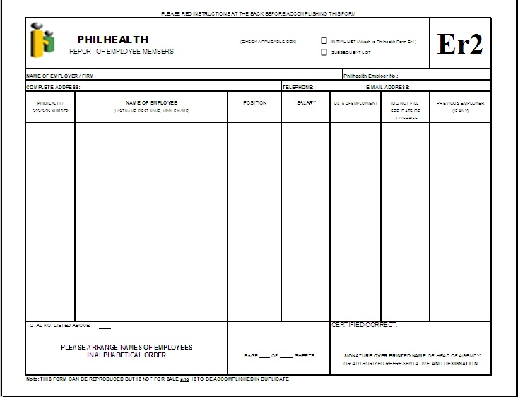 PhilHealth Er2 Form http://formsforfree.blogspot.com/2011/03/er2-report-of-employee-members.html