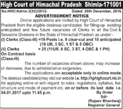 hp high court recruitment 2017 Advertisement