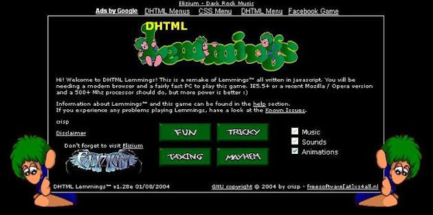 DHTML Lemmings on HTML
