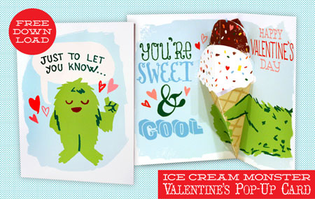Ice Cream Monster Valentine's Pop-up Card