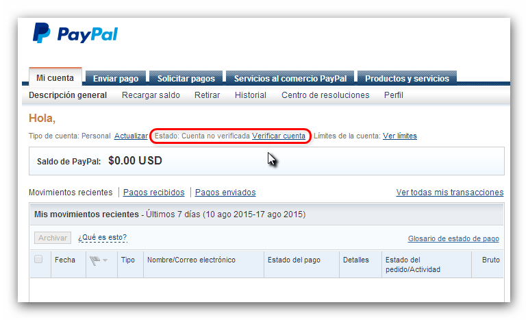 PayPal cuenta verificada